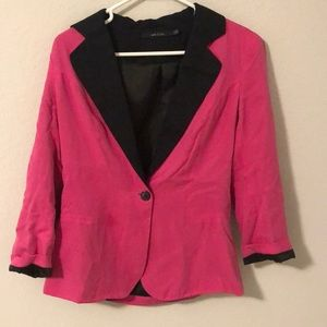 Pinks and black blazer